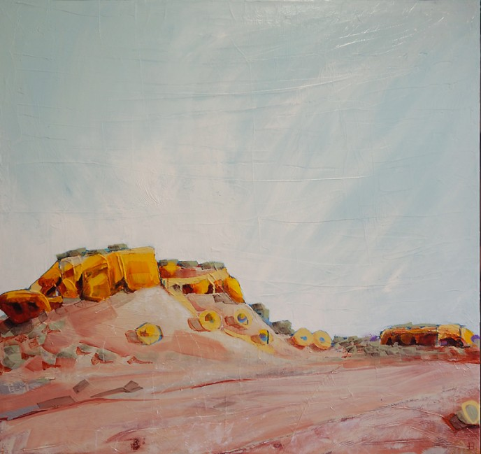 SOLD - Amphitheatre, Mt Magnet - Acrylic & Aerosol on Canvas 91x91cm
