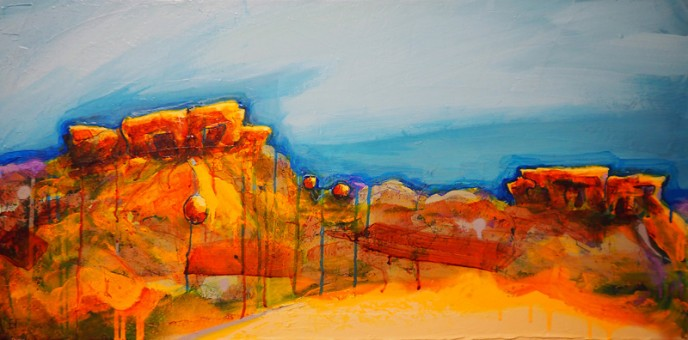 SOLD Cluster, Mt Magnet - Acrylic on Canvas 40.5x81cm