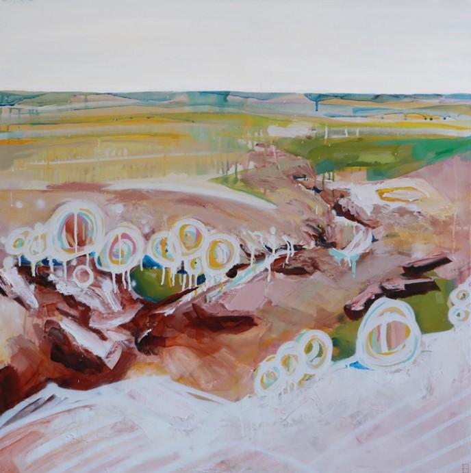 Coal Seam Gully - Mingenew - Acrylic and Aerosol on Canvas 91x91cm
