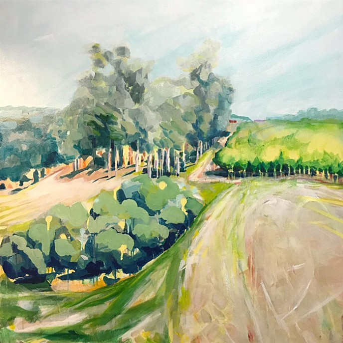SOLD Dairy on the Hill – Acrylic on Canvas 91x91cm