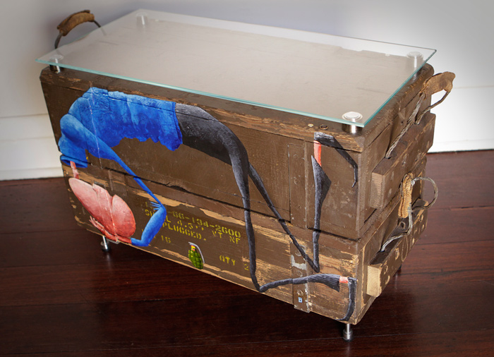 Duck and Cover – Coffee Table Acrylic on 2 Ammunition Boxes 470h x 660w x 310d