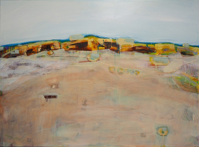 Quartz Field, Mt Magnet - Acrylic & Aerosol on Canvas 76x101cm