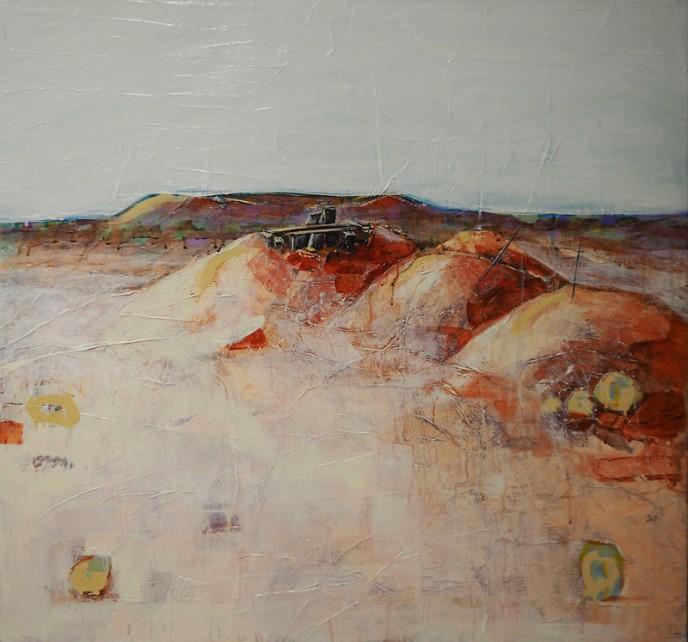 Shaft, Mt Magnet - Acrylic & Aerosol on Canvas 91x91cm