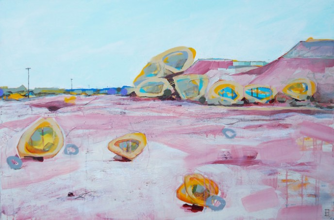 Tailings Dump, Mt Magnet - acrylic and aerosol on canvas 91x61cm