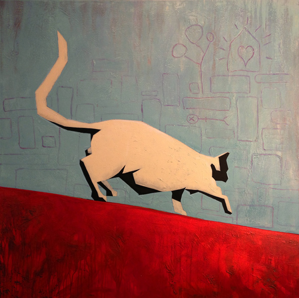 SOLD Tin Cat on a Hot Roof - Acrylic on Canvas 101x101cm. Change is not something to be afraid of. Move quickly and embrace the wonderful things life has to offer.