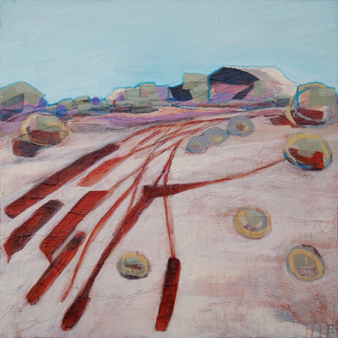 Tracks, Mt Magnet - Acrylic & Aerosol on Canvas 61x61cm